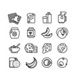 breakfast hot meal line icons vector image
