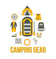 camping gear tourism equipment vector image