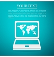 Laptop with world map flat icon on blue background vector image