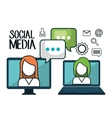 technology social media design isolated vector image