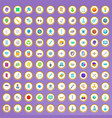 100 scientific icons set in cartoon style vector image
