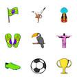 brazil icons set cartoon style vector image
