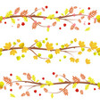 autumn collection of floral seamless borders with vector image