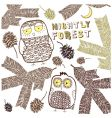 card with forest and owls vector image