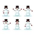 Christmas Snowman Smile Emoticon Icons Set vector image