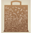 food icons on paper bag vector image