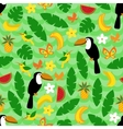 Seamless pattern with tropical nature on green vector image