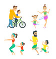 set of family couples in fitness activities vector image