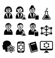 Scientist woman and man science icons set vector image