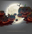 scary halloween background with flying pumpkins vector image