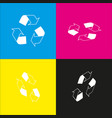 recycle logo concept  white icon with vector image
