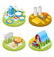 isometric ecology concept agriculture industry vector image
