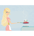 Beautiful young lady cooking lunch in the kitchen vector image vector image