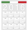 Italian 2016 calendar with shadow angles vector image