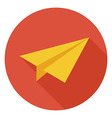 Flat Freelance Paper Plane Circle Icon with Long vector image