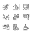 Car service center flat line icons vector image