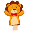 Lion hand puppet with red bow vector image