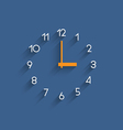 Trendy minimalistic clock with shadow on blue vector image