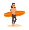 Surfing boy stay vector image