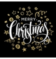 Christmas card with sketch elements Golden vector image