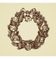 Decorative christmas wreath sketch Xmas and New vector image