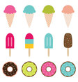ice cream and donuts set vector image