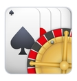 Icon deck of playing cards with roulette for vector image