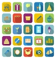 New year color icons with long shadow vector image