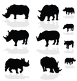 rhinoceros wils animal black silhouette vector image