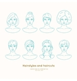 Set of female faces with different hairstyles vector image