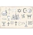 Set of trendy religion elements vector image