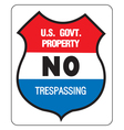 NO TREPASSING - US GOVERNMENT PROPERTY vector image