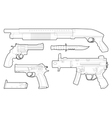 Set of outlined various weapons vector image vector image