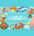 seafood lettering on blue wooden background vector image