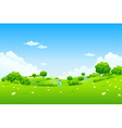 green landscape with trees vector image