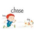 Bad boy chasing little dog vector image
