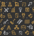 building construction elements and tools pattern vector image