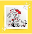 heart flower for love card vector image