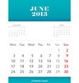 June 2013 calendar design vector image