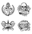 vintage tattoo studio emblems set vector image