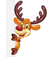 Cartoon funny deer holding blank sign Isolated vector image vector image