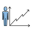 businessman with business graph growth arrow vector image