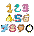 friendly animal numbers vector image