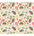seamless pattern forest with hedgehogs vector image