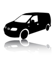 Silhouette of black Van car vector image