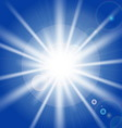 Sun rays and light effects on blue sky vector image
