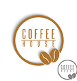 Coffee logo beans brown round cafe menu emblem vector image