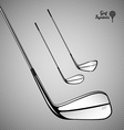 Golf sticks on the gray background as design vector image vector image