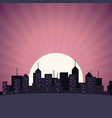 city skyline building skyscrapers sunset view vector image
