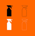household chemicals black and white set icon vector image